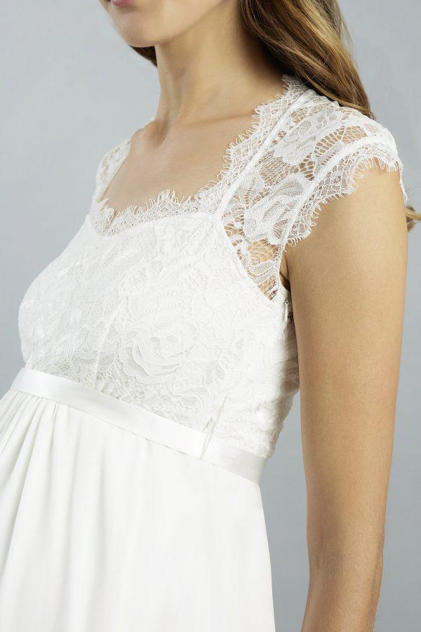 Sweetbelly 2019 Umstandskleid Adrianna Ivory Kurzes Kleid Detail 1 Avorio Vestito Eiche Brautmode Berlin