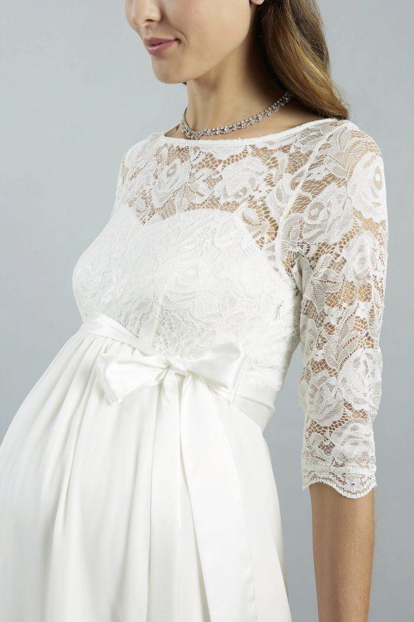 Sweetbelly 2019 Umstandskleid Arielle Ivory Kurzes Kleid Detail 2 Avorio Vestito Eiche Brautmode Berlin