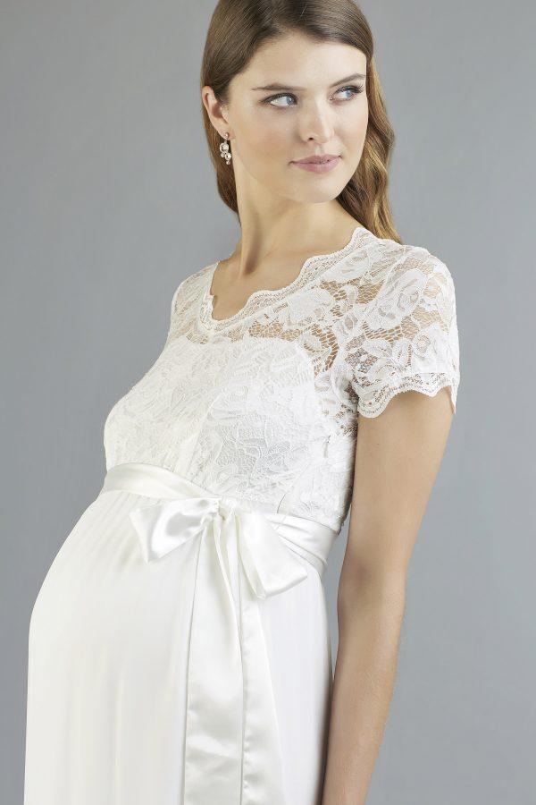 Sweetbelly 2019 Umstandskleid Kimberley Ivory Kurzes Kleid Detail 1 Avorio Vestito Eiche Brautmode Berlin