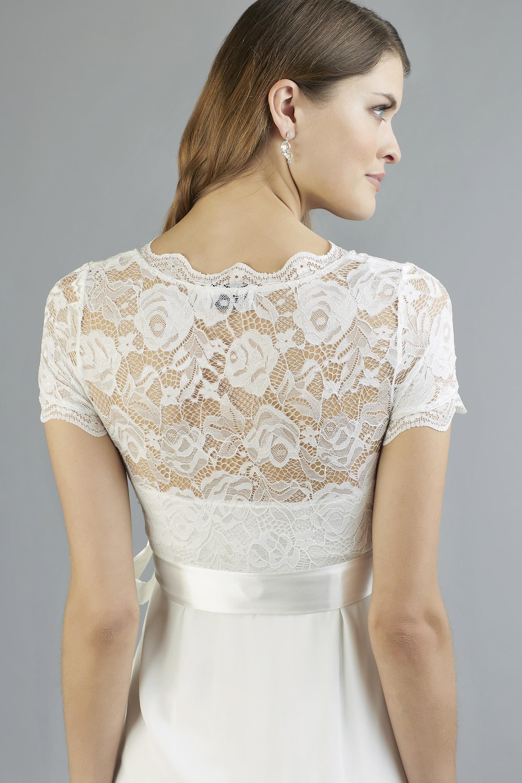 Sweetbelly 2019 Umstandskleid Kimberley Ivory Kurzes Kleid Detail 2 Avorio Vestito Eiche Brautmode Berlin