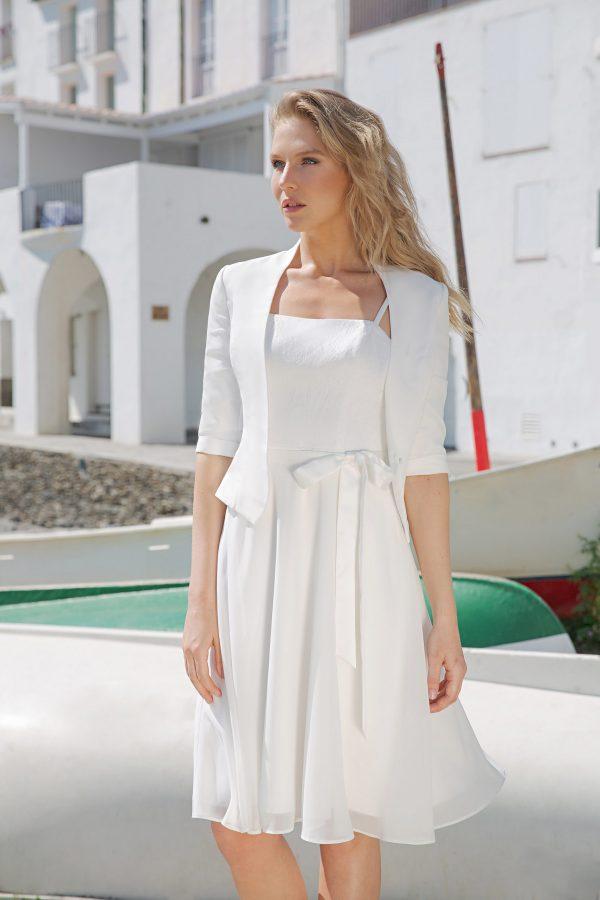 Kurzes knielanges Standesamtkleid ivory Kollektion 2020 A7214 bei Avorio Vestito Brautmode in Berlin