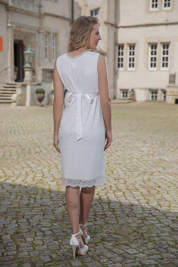 Kurzes knielanges Umstandskleid ivory Kollektion 2020 A7206 3 bei Avorio Vestito Brautmode in Berlin