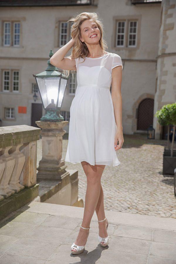 Kurzes knielanges Umstandskleid ivory Kollektion 2020 A7216 5 bei Avorio Vestito Brautmode in Berlin
